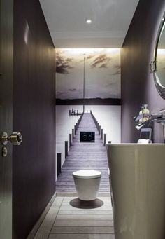 No tiles in the guest bathroom. The small room gets a great depth effect. # Guest toilet - ALL ABOUT Small Toilet Room, Guest Toilet, Downstairs Toilet, Small Wc Ideas Downstairs Loo, Small Toilet Design, Downstairs Cloakroom, Beautiful Small Bathrooms, Tiny Bathrooms, Modern Bathroom