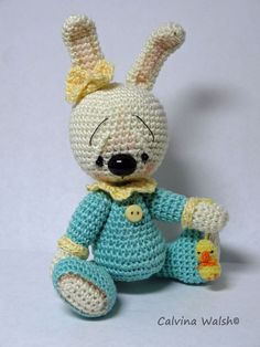 Bunny Amigurumi  Mini Anime Crochet Bear of Thread by Teddy Bear Artist C. Walsh #AllOccasion