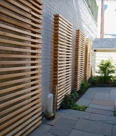 Exterior Design, Cool Wooden Contemporary Landscape Garden Screening Ideas With Gray Bricks Wall Color Also Modern Stones Flooring Design Al. Modern Landscaping, Backyard Landscaping, Landscaping Ideas, Backyard Privacy, Concrete Backyard, Paving Ideas, Concrete Fence, Backyard Fences, Gabion Fence