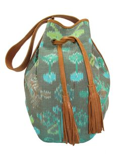 Gorgeous Ikat Bucket Handbag with Leather Trim by InTheHandLeather, based in Indonesia and selling on Etsy