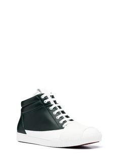 High-top sneaker in two-tone leather 0e4d81f32