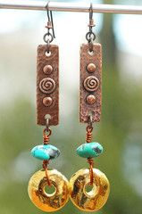 Hammered Copper, Turquoise and Gold Disc Dangle Earrings