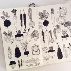 Vegetable #IFDrawAWeek #IFDrawAWeek15 #drawing #doodle #linedrawing #sketchbook #moleskine #vegetable #creativebug
