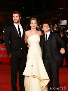 (L-R) Actors Liam Hemsworth, Jennifer Lawrence and Josh Hutcherson attend the 'The Hunger Games: Catching Fire' Premiere during The 8th Rome...