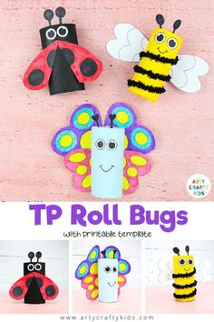 How to mak Toilet Paper Roll Bugs: Learn how to make a toilet paper roll butterfly, bee and ladybug - A fun and easy Spring craft for kids. Animal Crafts For Kids, Spring Crafts For Kids, Paper Crafts For Kids, Crafts For Kids To Make, Toddler Crafts, Preschool Crafts, Kids Animals, Ladybug Crafts, Frog Crafts