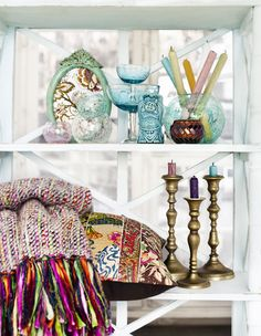 candles. mirror. pillows. glass. rug. turquoise. pastel colors. want it all. indiska spring 2012.