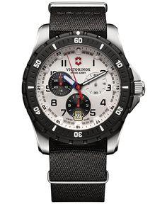 Victorinox Swiss Army Men's Chronograph Maverick Sport Black Fabric Strap Watch 43mm 241680.1