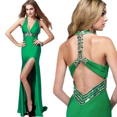 Sexy Women Vneck Luxury Backless Slit Evening Ball Gown Cocktail Maxi Long Dress