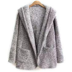 Hooded Fleece Coat (75 BRL) ❤ liked on Polyvore featuring outerwear, coats, jackets, hooded fleece coat, fleece coat and hooded coat