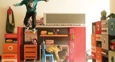 Life box 04. Dormitorio infantil con litera y sistema modular Kubox