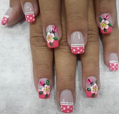 French Tip Nail Designs, French Tip Nails, Nail Polish Designs, Nail Art Designs, Beautiful Nail Art, Gorgeous Nails, Spring Nails, Summer Nails, Natural Acrylic Nails