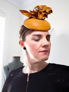 This leather headpiece is one of my favourites (like all of them that I have made!). I blocked the leather onto the button base and then created this abstract leather trim to compliment the style. Race wear hats, headpieces and accessories - Visit my online shop!. www.julieherbertmillinery.com.au Race Wear, Yellow Leather, Mustard Yellow, Fascinator, Colour Yellow, Button, Headpieces, Abstract, Aud