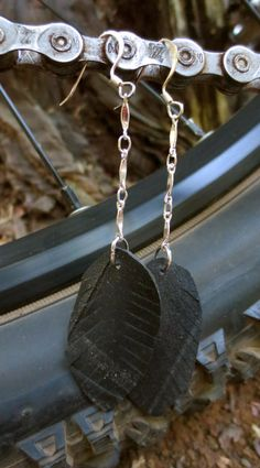Recycled Bicycle bike Tube Feather Earrings on by maybirdjewelry, $18.00