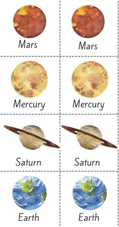 As we finish up our last couple weeks of our Space Unit Study with Mother Goose Time, I wanted to do up a printable memory and word recognition game. This is a beautiful watercolor planet matching game that