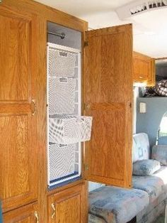 Convert your wardrobe closet to a store and tote cubby. Follow pin for a few tips for RV storage.