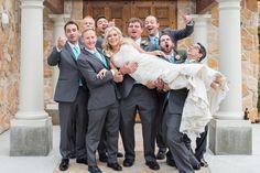 Fun Wedding Photo - Groomsmen holding the bride! Baldoria on the Water in Denver Colorado - Photo by Silver Sparrow Photography