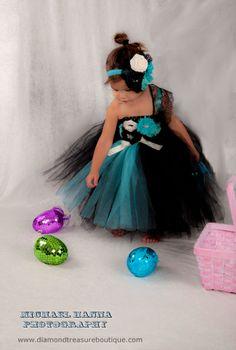 Tiffany blue turquoise and black flower by DiamondTreasuresLLC Black Tutu, Peacock Theme, My Beautiful Daughter, Birthday Dresses, Tiffany Blue, Maid Of Honor, Flower Girl Dresses, Turquoise, Formal Dresses