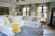 grey and yellow. Family Room Design Ideas, Inspiration, Pictures, Remodels and Decor