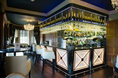 Stylish art deco bar in the restaurant at Ye Olde Bell Hotel