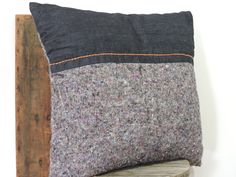 handmade pillow, repurposed moving blanket and recycled denim. By etaussi on Etsy