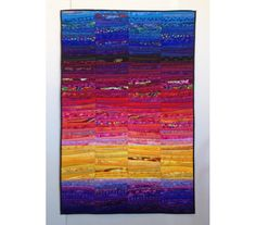 """Modern art quilt. Quilted hanging. Color study. Fiber art. Art for the wall. Abstract textile art. 32x48"""". Modern home decor. Landscape art by AnnBrauer on Etsy https://www.etsy.com/listing/221057585/modern-art-quilt-quilted-hanging-color"""