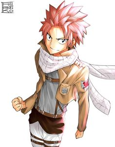 Fairy tail crossover with attack on Titan. The coolest combination EVER!
