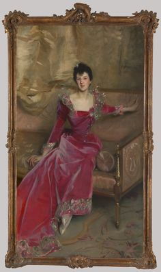 Mrs. Hugh Hammersley    Artist: John Singer Sargent (American, Florence 1856–1925 London)  Date: 1892  Medium: Oil on canvas  Dimensions: 81 x 45 1/2in. (205.7 x 115.6cm)  Framed: 91 1/2 x 52 5/8 x 4 3/4 in. (232.4 x 133.7 x 12.1 cm)  Classification: Paintings