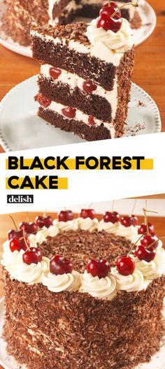You'll Fall Head Over Heels For This Black Forest CakeDelish Delicious Cake Recipes, Homemade Cake Recipes, Yummy Cakes, Yummy Treats, Sweet Recipes, Dessert Recipes, Sweet Treats, Cupcakes, Cupcake Cakes