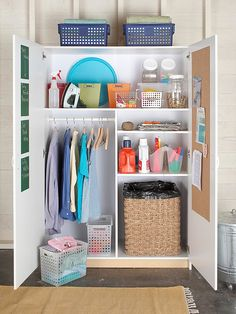 Armoire used for linens and cleaning supplies – great for a laundry room! Armoire used for linens and cleaning supplies – great for a laundry room! Laundry Room Storage, Laundry Room Design, Laundry Rooms, Laundry Area, Laundry Closet, Laundry Station, Laundry Center, Laundry Organizer, Garage Laundry
