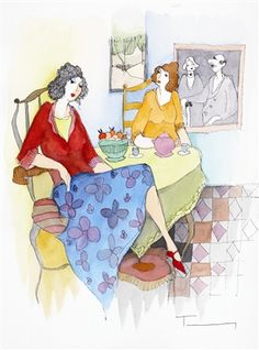 Tarkay, Itzchak Springtime Gossip 2005 14'' x 10 5/8'' Mixed media with watercolor on wove paper. Signed in ink lower right.