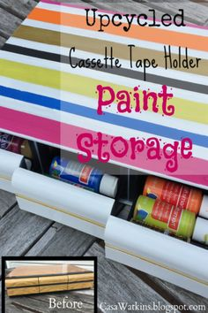 Paint Storage From an Upcycled Cassette Tape Holder
