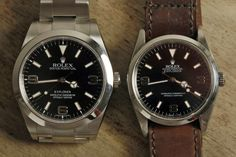 The Rolex Explorer : the older version on the right is 36mm and the newer 39mm. Seriously considering getting one of the newer ones which I think is the only classic one in the rolex catalogue now.