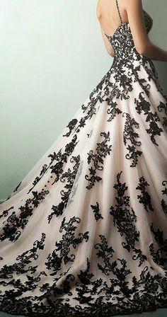 Colored wedding dresses custom made Black White Wedding Dress, Black Wedding Gowns, Wedding Dress With Veil, Wedding Skirt, Unique Colored Wedding Dresses, Wedding Dress Colors, Boho Wedding, Black Weddings, Geek Wedding