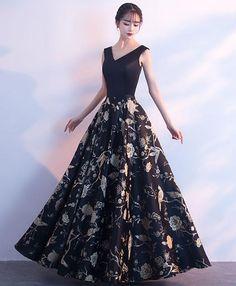 Black v neck floral pattern long prom dress, evening dress
