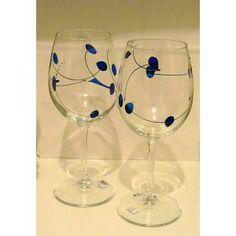 Magnifiques coupes à vin peintes à la main, résistantes et très délicates, le…