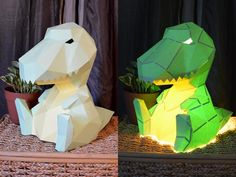 Create an adorable paper lamp in the shape of a dinosaur with simple materials and our PDF pattern! Kids will love this light-up dino figure beside their bed.  This super-cute tyrannosaurus sits on your table or shelf and gives light to a little reading corner or wherever you need. Its a great piece for adding character to a childs room or a nook in the den.  Lamp looks beautiful in white, though you may try using thin, colored card stock or use watercolors to paint your own design…