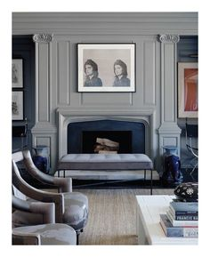 Beautiful fireplace surround and the colors #grey #fireplace #interiordesign