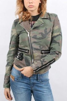 Tripp NYC - Womens Classic Moto Jacket in Camoflage, Size: Small, Color: Camouflage Tripp NYC. $77.95