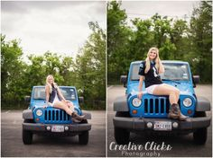 Super cute senior pictures with jeep! Cute Senior Pictures, Senior Photos Girls, Prom Pictures, Senior Girls, Cute Couple Quotes, Jeep Wrangler Girl, Couple Goals, Blue Jeep, Jeep Photos