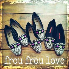 Animal Print + Black Flats Slippers Bow & Stones  www.froufroushoes.com
