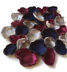 Navy Blue, Marsala maroon and silver flower petals, rose petals, table decor, flower girl petals, baby shower decor, bridal shower decor