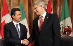 Enrique Peña Nieto, se pronunció por lograr un mayor acercamiento con Canadá, al ser recibido por el primer ministro de ese país, Stephen Harper, en Ottawa.