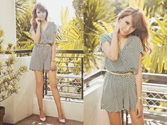 032113-3 (by Tricia Gosingtian) http://lookbook.nu/look/4752777-Mango-Scallopedhem-Romper-Heels-Casio-Watch