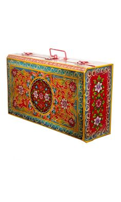 Painted metal suitcase - trunk for memories?