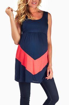 Navy blue coral chevron maternity tunic #maternity #fashion