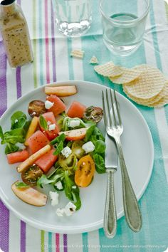 peach and watermelon salad with feta cheese