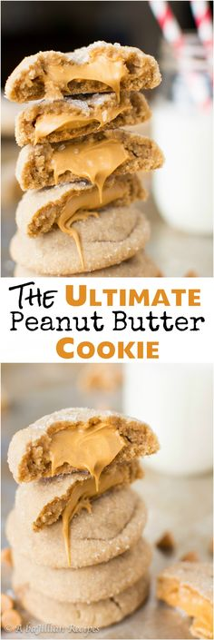 Super soft and chewy peanut buttery cookies stuffed with a peanut butter butterscotch truffle filling! Super Bowl is JUST around the corner, guys! Yep, the time of year when it's totally acceptable t paleo dessert peanut butter Peanut Butter Desserts, Peanut Butter Cookie Recipe, Peanut Recipes, Peanut Butter Funny, Vegan Peanut Butter Cookies, Cookies Vegan, Caramel Cookies, Vegan Butter, Baking Recipes