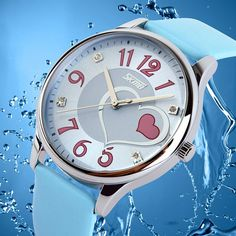 Amazon.com : UGE Cute Love Heart Design Rhinestone Waterproof Dress Watch Quartz Watch with Soft Leather Strap for Women Swimming Diving(Blue) : Sports & Outdoors