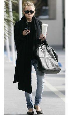 Olsens-Anonymous-Blog-Ashley-Olsen-Laid-Back-Minimal-Ray-Ban-Sunglasses-Oversized-Scarf-Givenchy-Bag-Denim-Ballet-Flats