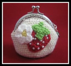 5. Crochet cream coin purse, beaded strawberry and crochet flower, enamelled strawberry charm,kiss clasp, strawberry fabric lining